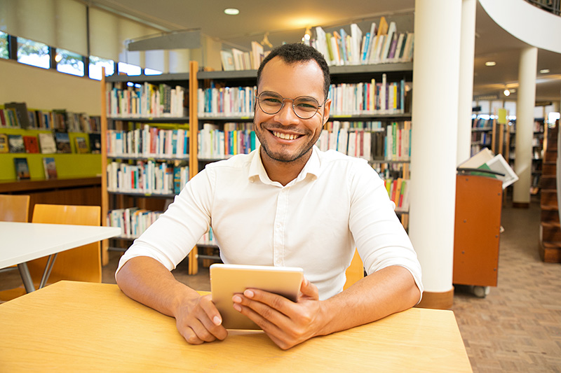 patron at library